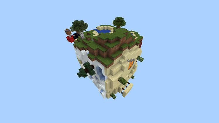 A cube of Minecraft terrain floats in the void, each side a different biome