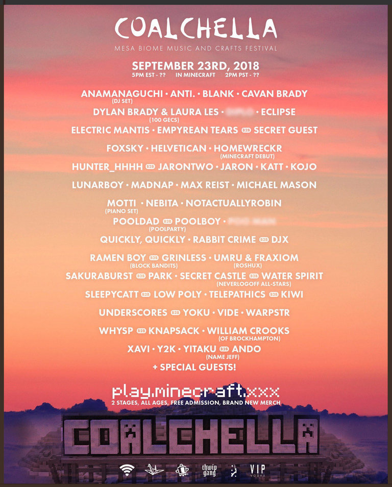 Minecraft held a virtual music festival last month, and called it coalchella - onmsft. Com - october 18, 2018