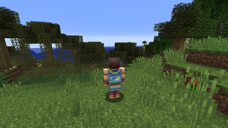 A Minecraft player in the woods, wearing a mapmaker cape