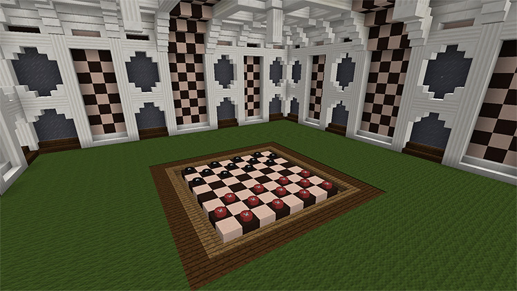 A checkers board with creeper faces stands ready to be played